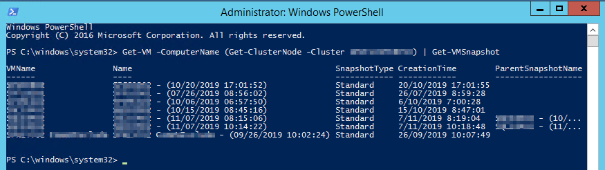 Powershell command to get available snapshots on all cluster nodes